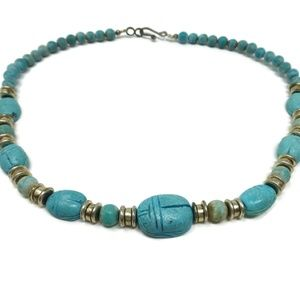 Scarab Design Faux Turquoise Bead Necklace